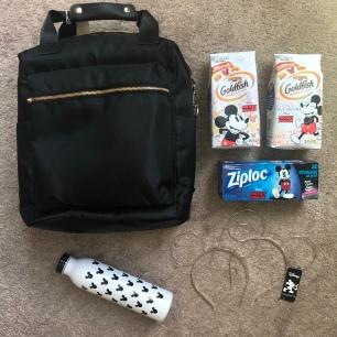 Backpack $30 @ Target (durable & easy to clean) // Water bottle $10 Target // Ears $5 Target